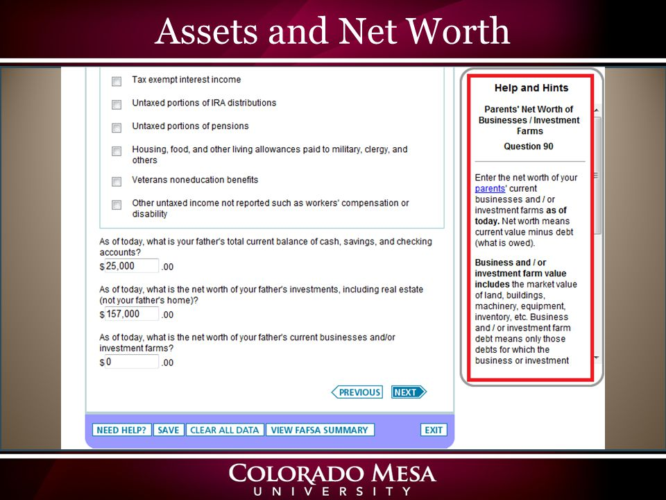 Assets and Net Worth