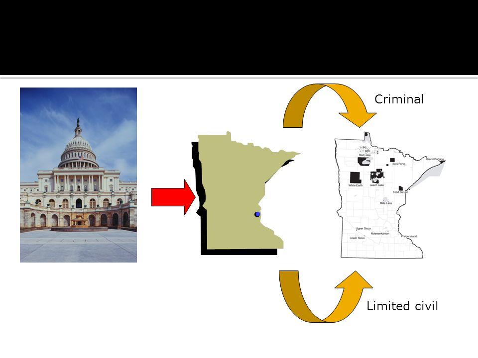 Public Law 280 – Conferred Jurisdiction Criminal Limited civil