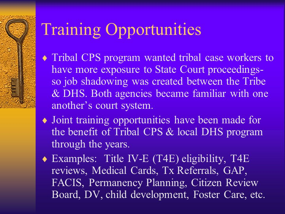 Training Opportunities  Tribal CPS program wanted tribal case workers to have more exposure to State Court proceedings- so job shadowing was created between the Tribe & DHS.