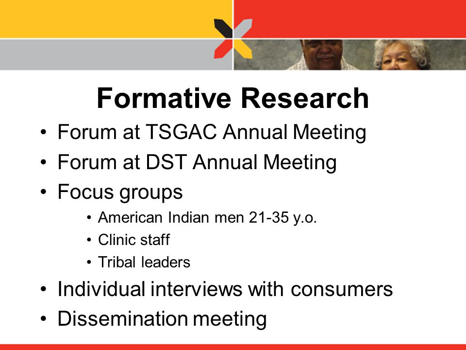 Formative Research Forum at TSGAC Annual Meeting Forum at DST Annual Meeting Focus groups American Indian men 21-35 y.o.
