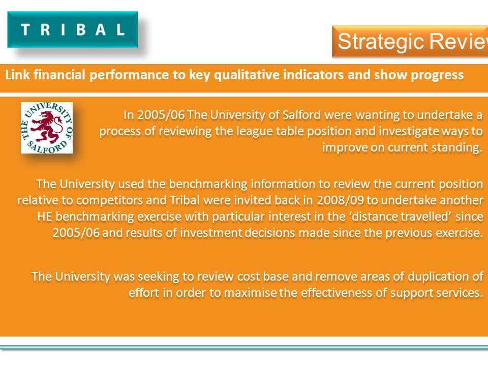 Link financial performance to key qualitative indicators and show progress In 2005/06 The University of Salford were wanting to undertake a process of reviewing the league table position and investigate ways to improve on current standing.