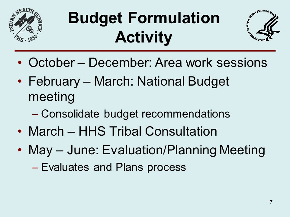 Budget Formulation Activity October – December: Area work sessions February – March: National Budget meeting –Consolidate budget recommendations March – HHS Tribal Consultation May – June: Evaluation/Planning Meeting –Evaluates and Plans process 7