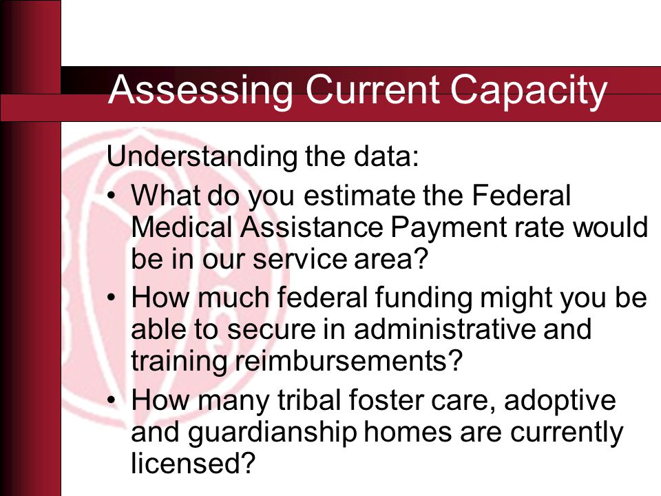 Understanding the data: What do you estimate the Federal Medical Assistance Payment rate would be in our service area.