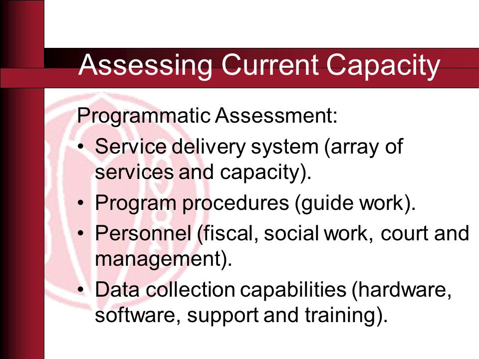 Programmatic Assessment: Service delivery system (array of services and capacity).