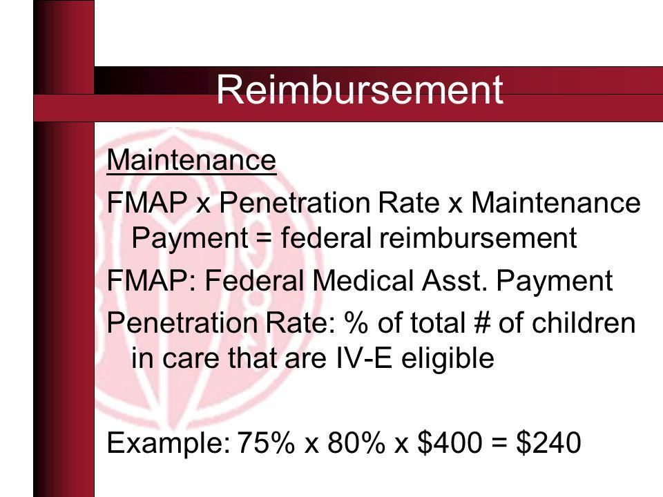 Maintenance FMAP x Penetration Rate x Maintenance Payment = federal reimbursement FMAP: Federal Medical Asst. Payment Penetration Rate: % of total # o