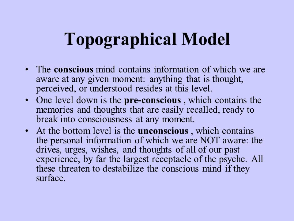 Topographical Model The conscious mind contains information of which we are aware at any given moment: anything that is thought, perceived, or understood resides at this level.