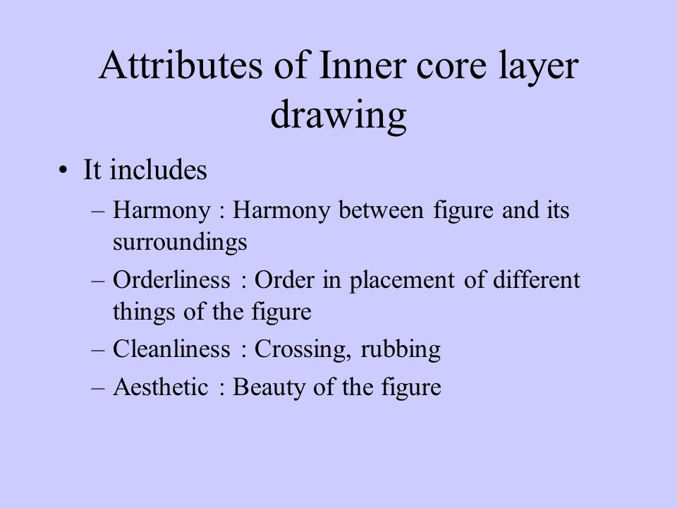 Attributes of Inner core layer drawing It includes –Harmony : Harmony between figure and its surroundings –Orderliness : Order in placement of different things of the figure –Cleanliness : Crossing, rubbing –Aesthetic : Beauty of the figure