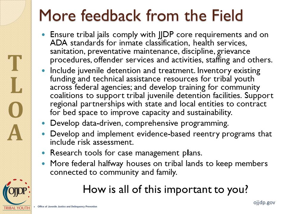 ojjdp.gov T L O A More feedback from the Field Ensure tribal jails comply with JJDP core requirements and on ADA standards for inmate classification, health services, sanitation, preventative maintenance, discipline, grievance procedures, offender services and activities, staffing and others.