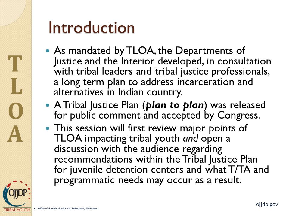 T L O A Introduction As mandated by TLOA, the Departments of Justice and the Interior developed, in consultation with tribal leaders and tribal justice professionals, a long term plan to address incarceration and alternatives in Indian country.