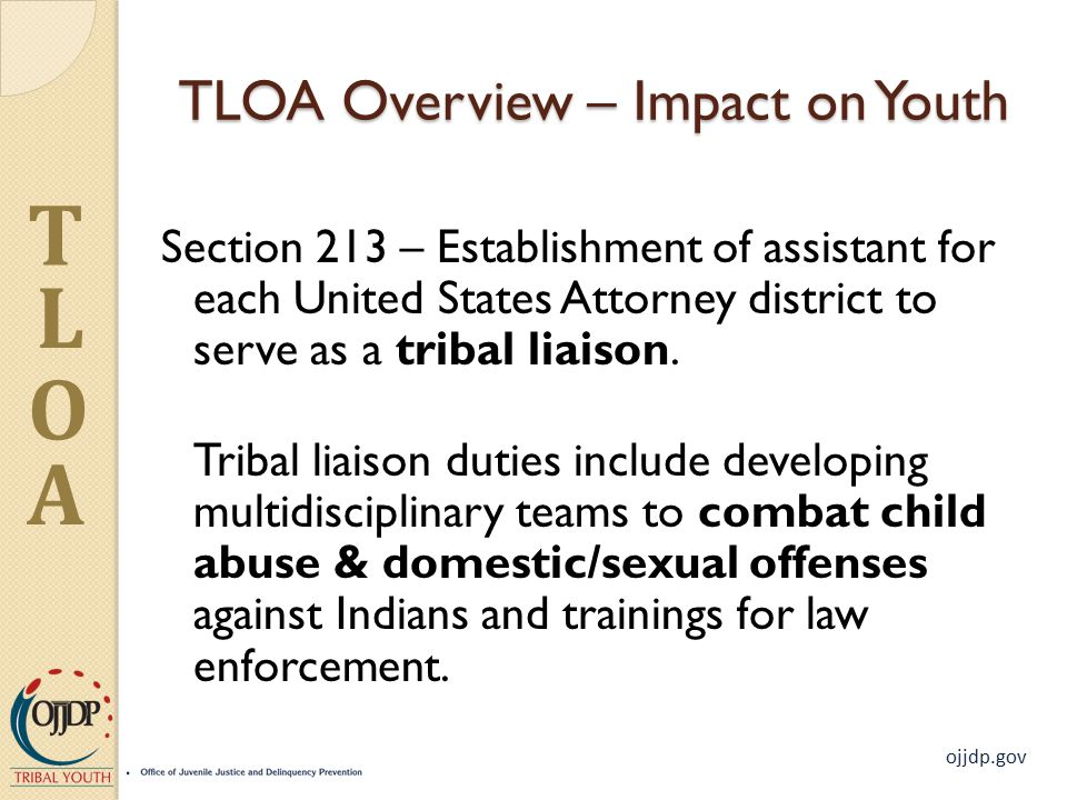 ojjdp.gov T L O A TLOA Overview – Impact on Youth Section 213 – Establishment of assistant for each United States Attorney district to serve as a tribal liaison.