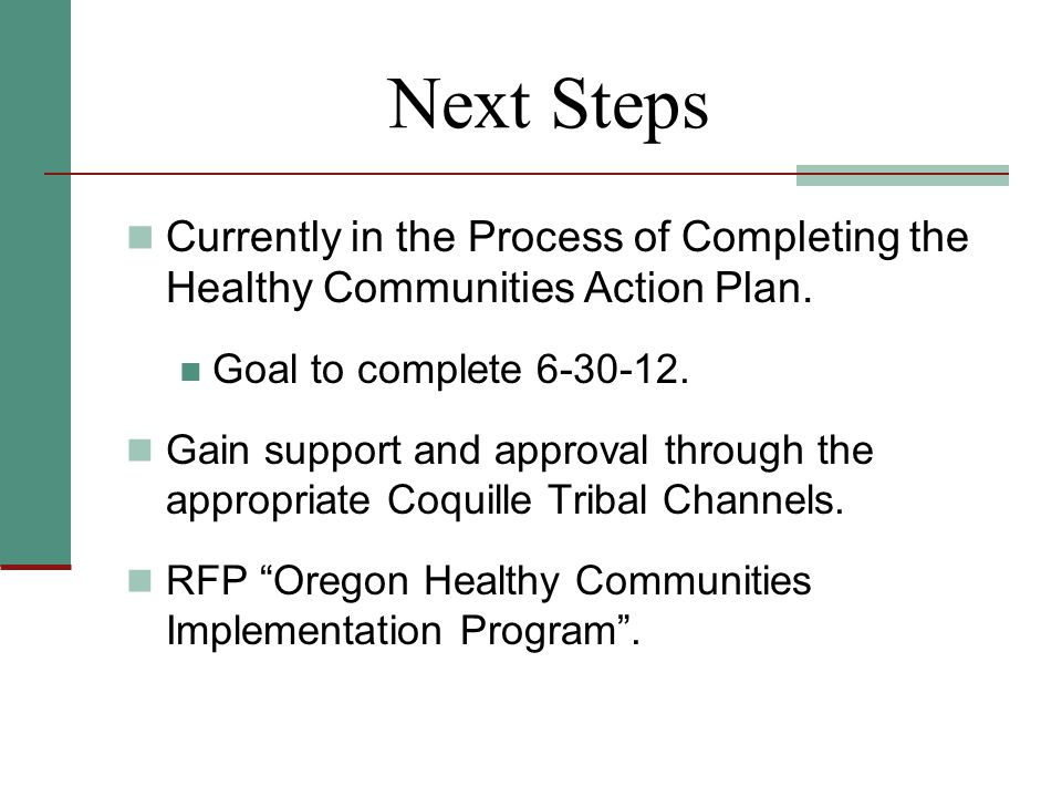 Next Steps Currently in the Process of Completing the Healthy Communities Action Plan.