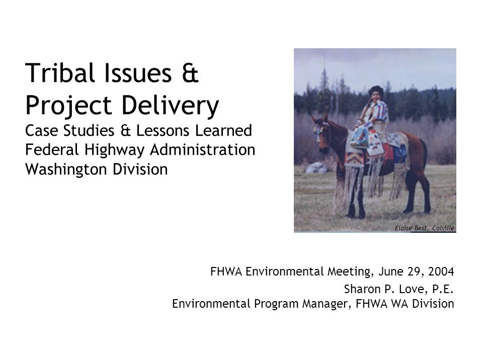 Tribal Issues & Project Delivery Case Studies & Lessons Learned Federal Highway Administration Washington Division FHWA Environmental Meeting, June 29, 2004 Sharon P.