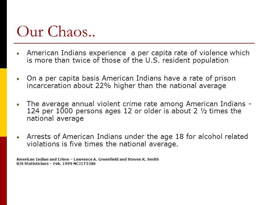 Our Chaos.. American Indians experience a per capita rate of violence which is more than twice of those of the U.S. resident population On a per capit