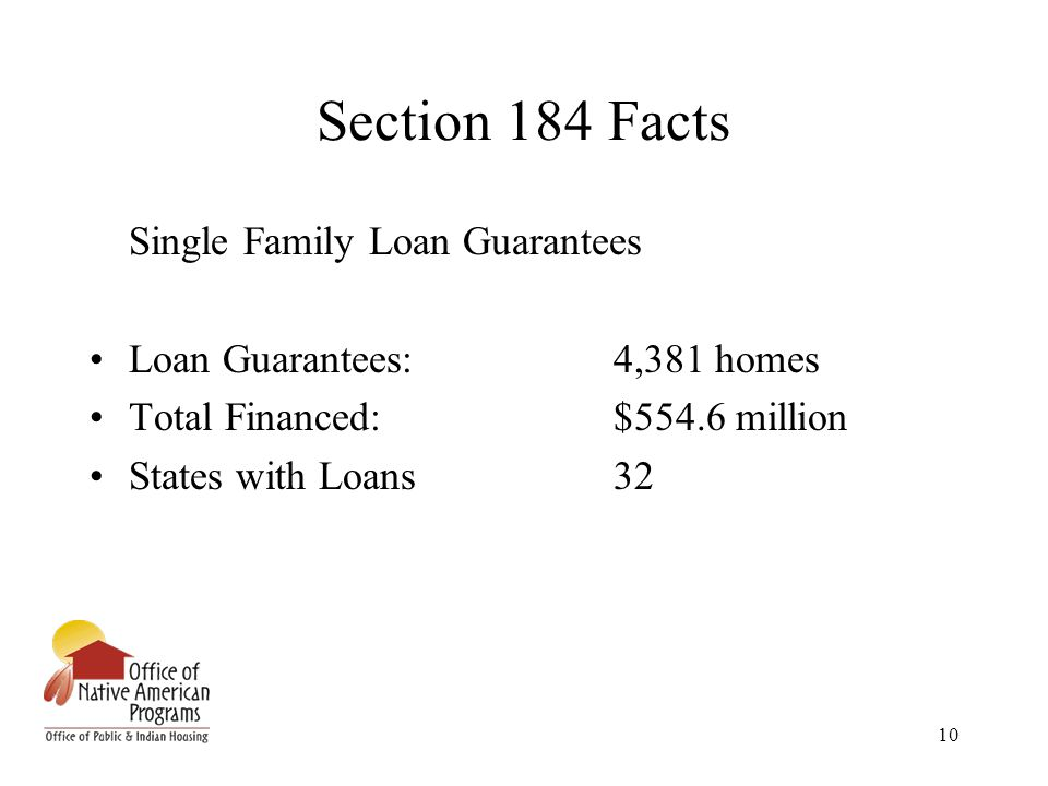 10 Section 184 Facts Single Family Loan Guarantees Loan Guarantees:4,381 homes Total Financed:$554.6 million States with Loans32