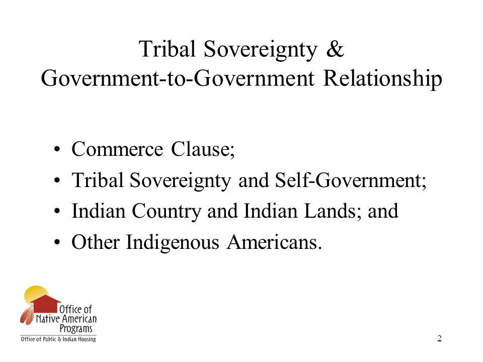 2 Tribal Sovereignty & Government-to-Government Relationship Commerce Clause; Tribal Sovereignty and Self-Government; Indian Country and Indian Lands; and Other Indigenous Americans.