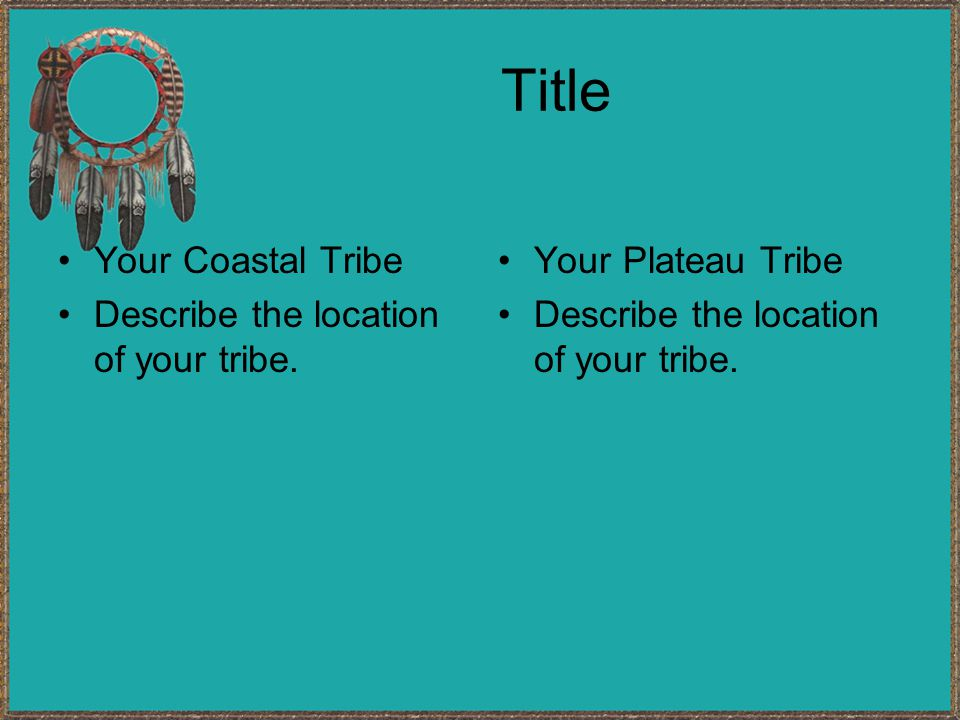Title Your Coastal Tribe Describe the location of your tribe.