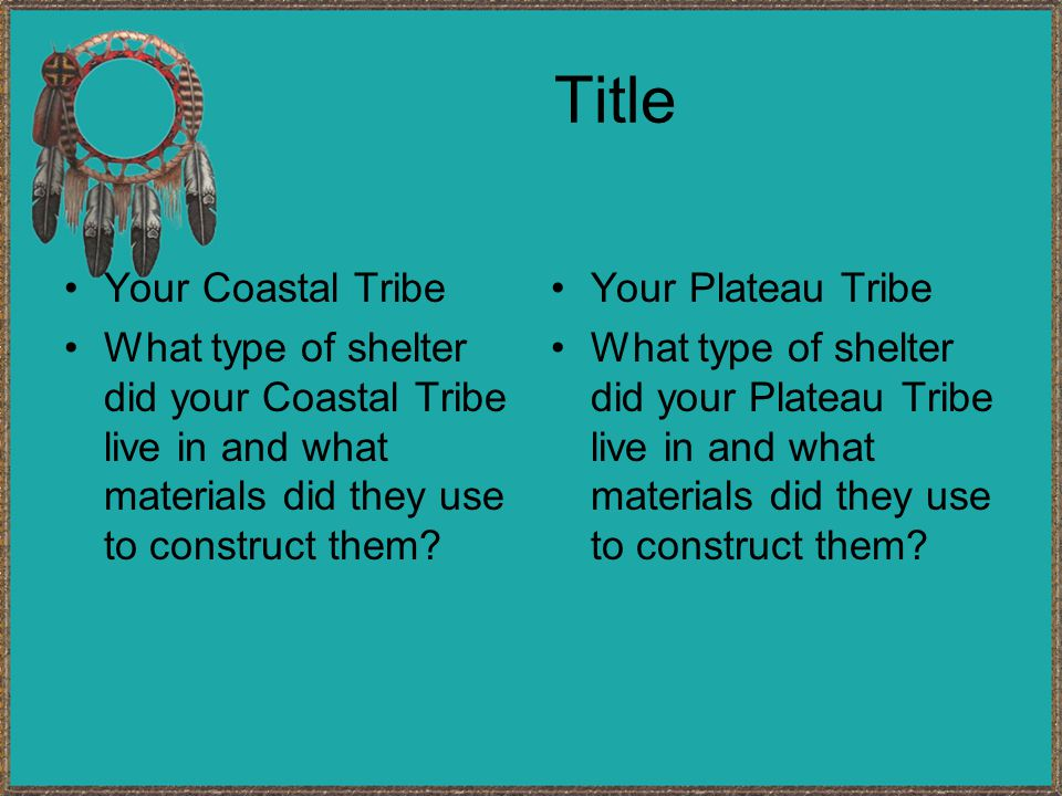 Title Your Coastal Tribe What type of shelter did your Coastal Tribe live in and what materials did they use to construct them.