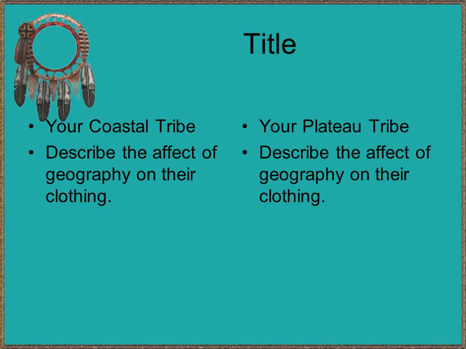 Title Your Coastal Tribe Describe the affect of geography on their clothing.