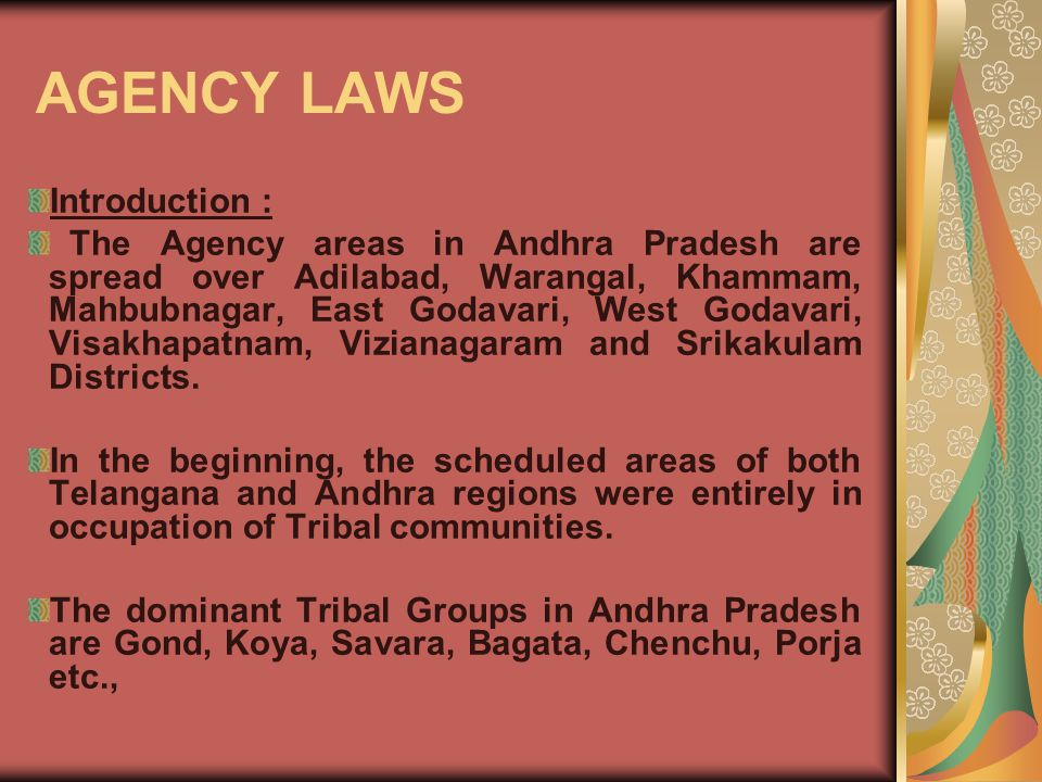 Introduction : The Agency areas in Andhra Pradesh are spread over Adilabad, Warangal, Khammam, Mahbubnagar, East Godavari, West Godavari, Visakhapatnam, Vizianagaram and Srikakulam Districts.