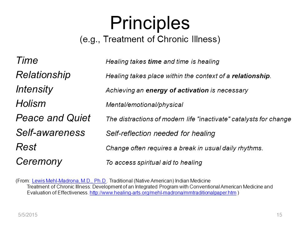 Principles (e.g., Treatment of Chronic Illness) Time Healing takes time and time is healing Relationship Healing takes place within the context of a relationship.