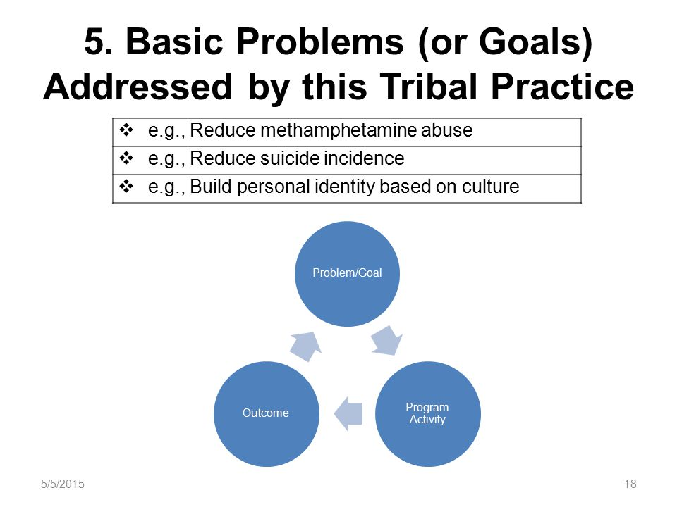 5. Basic Problems (or Goals) Addressed by this Tribal Practice Problem/Goal Program Activity Outcome  e.g., Reduce methamphetamine abuse  e.g., Redu