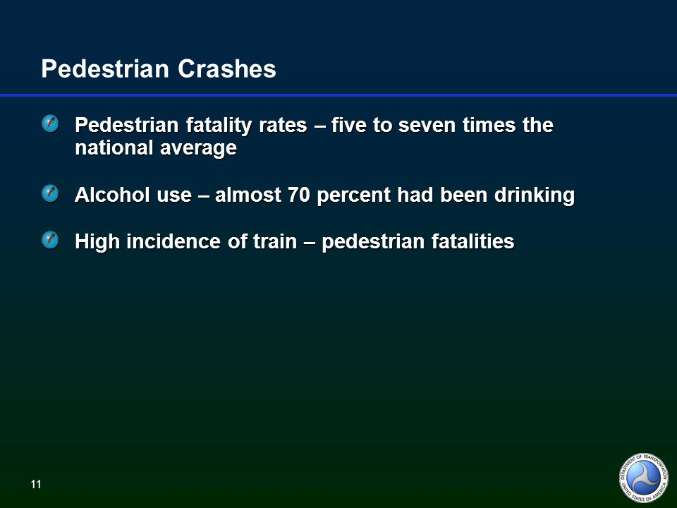 11 Pedestrian Crashes Pedestrian fatality rates – five to seven times the national average Alcohol use – almost 70 percent had been drinking High incidence of train – pedestrian fatalities