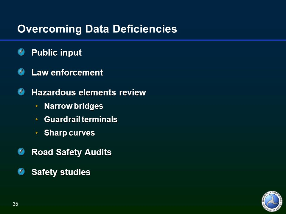 35 Overcoming Data Deficiencies Public input Law enforcement Hazardous elements review Narrow bridgesNarrow bridges Guardrail terminalsGuardrail terminals Sharp curvesSharp curves Road Safety Audits Safety studies
