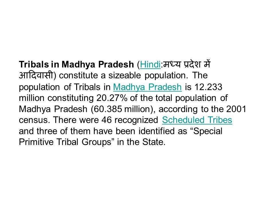 The main tribal groups in Madhya Pradesh are Gond, Bhil, Baiga, Korku, Bhariya, Halba, Kaul, Mariya, and Sahariya.