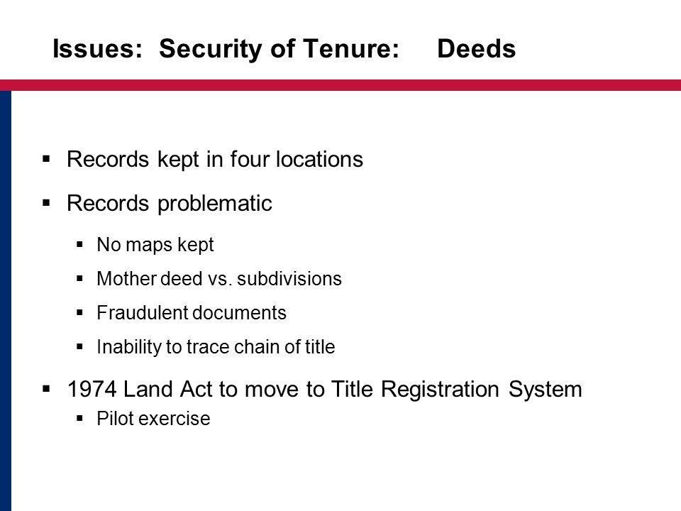Security of Tenure Deeds Registry