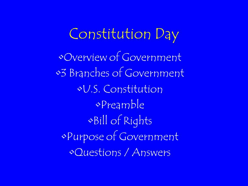 Constitution Day Overview of Government 3 Branches of Government U.S. Constitution Preamble Bill of Rights Purpose of Government Questions / Answers