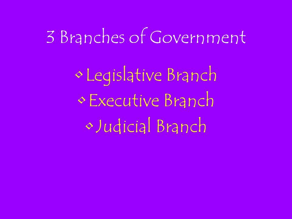 3 Branches of Government Legislative Branch Executive Branch Judicial Branch