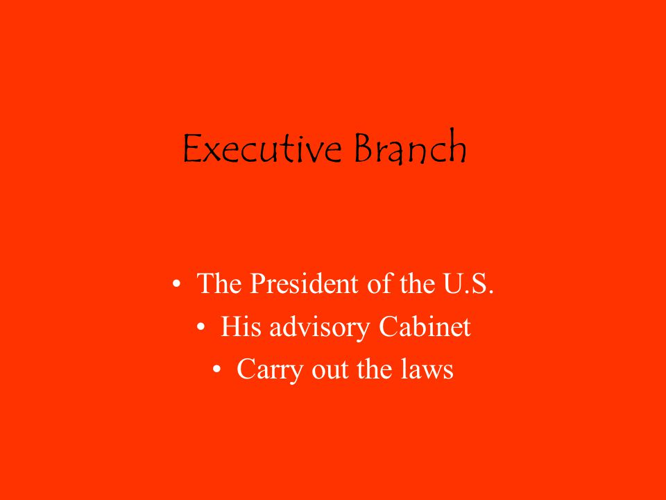 Executive Branch The President of the U.S. His advisory Cabinet Carry out the laws