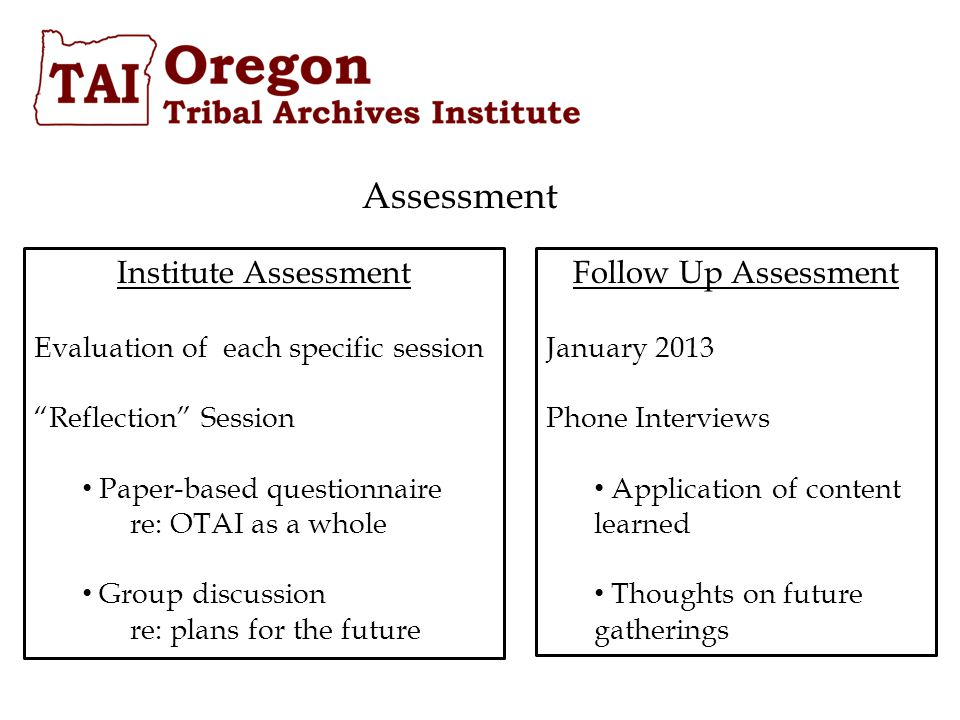 Assessment Institute Assessment Evaluation of each specific session Reflection Session Paper-based questionnaire re: OTAI as a whole Group discussion re: plans for the future Follow Up Assessment January 2013 Phone Interviews Application of content learned Thoughts on future gatherings