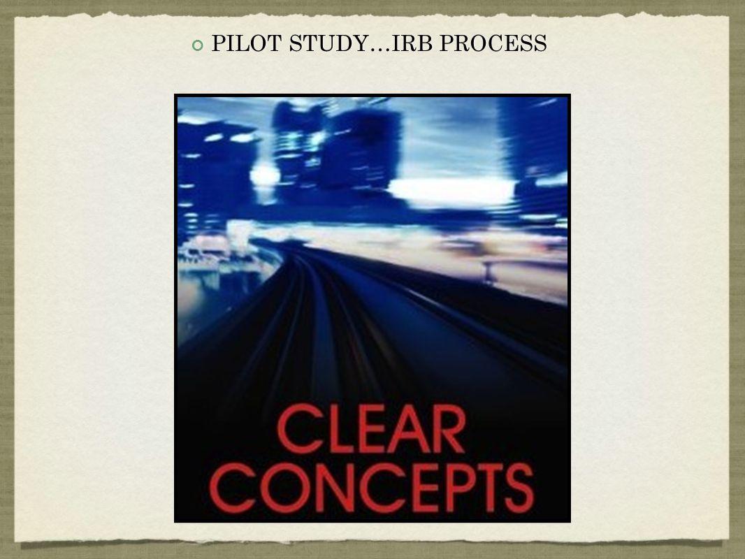 PILOT STUDY…IRB PROCESS