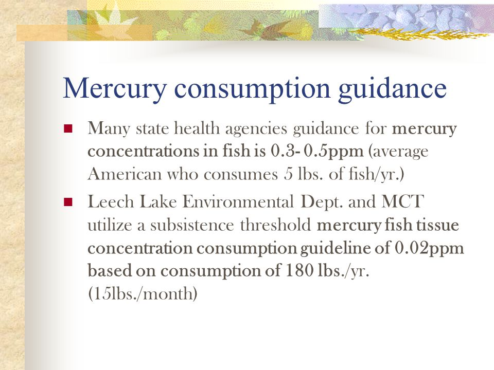 Mercury consumption guidance Many state health agencies guidance for mercury concentrations in fish is 0.3- 0.5ppm (average American who consumes 5 lbs.