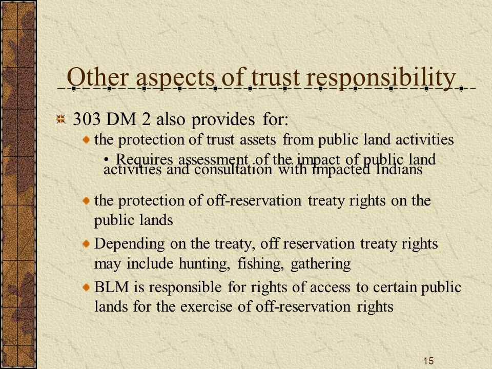 15 Other aspects of trust responsibility 303 DM 2 also provides for: the protection of trust assets from public land activities Requires assessment of