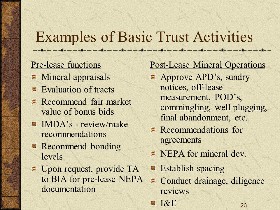 23 Examples of Basic Trust Activities Pre-lease functions Mineral appraisals Evaluation of tracts Recommend fair market value of bonus bids IMDA's - review/make recommendations Recommend bonding levels Upon request, provide TA to BIA for pre-lease NEPA documentation Post-Lease Mineral Operations Approve APD's, sundry notices, off-lease measurement, POD's, commingling, well plugging, final abandonment, etc.