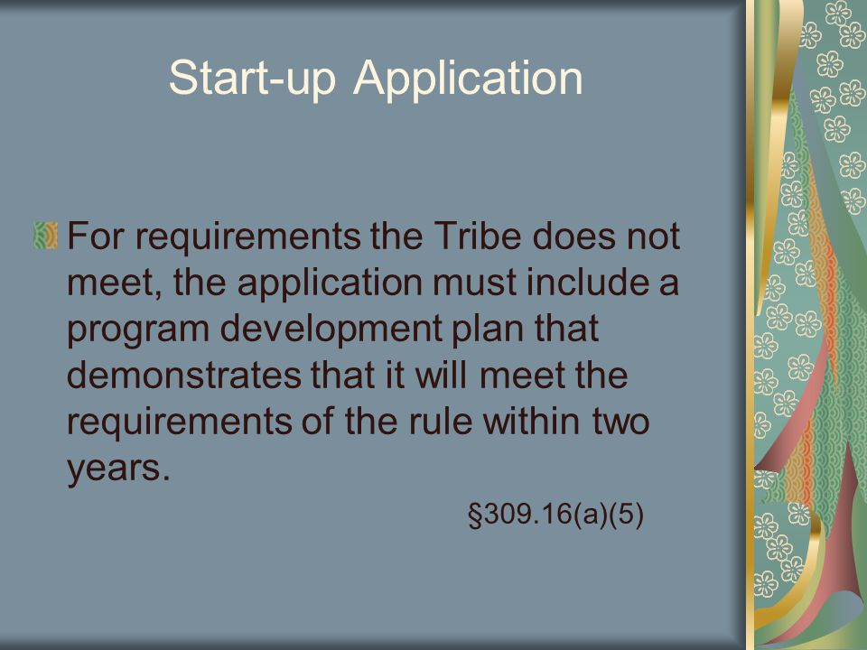 Start-up Application For requirements the Tribe does not meet, the application must include a program development plan that demonstrates that it will meet the requirements of the rule within two years.
