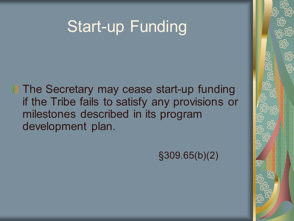 Start-up Funding The Secretary may cease start-up funding if the Tribe fails to satisfy any provisions or milestones described in its program development plan.