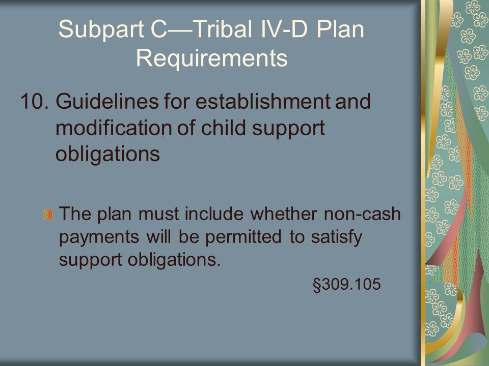 Subpart C—Tribal IV-D Plan Requirements 10.