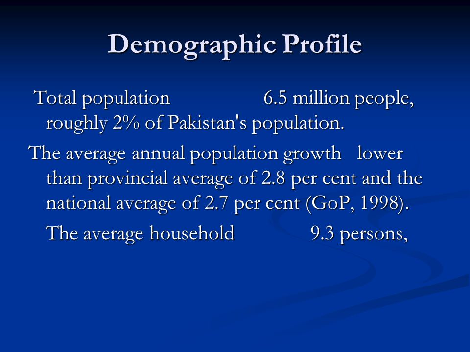 Demographic Profile Total population 6.5 million people, roughly 2% of Pakistan s population.