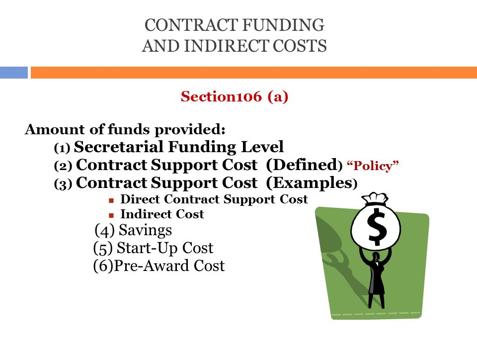 """CONTRACT FUNDING AND INDIRECT COSTS Section106 (a) Amount of funds provided: (1) Secretarial Funding Level (2) Contract Support Cost (Defined ) """"Polic"""