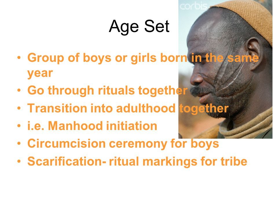 Age Set Group of boys or girls born in the same year Go through rituals together Transition into adulthood together i.e.