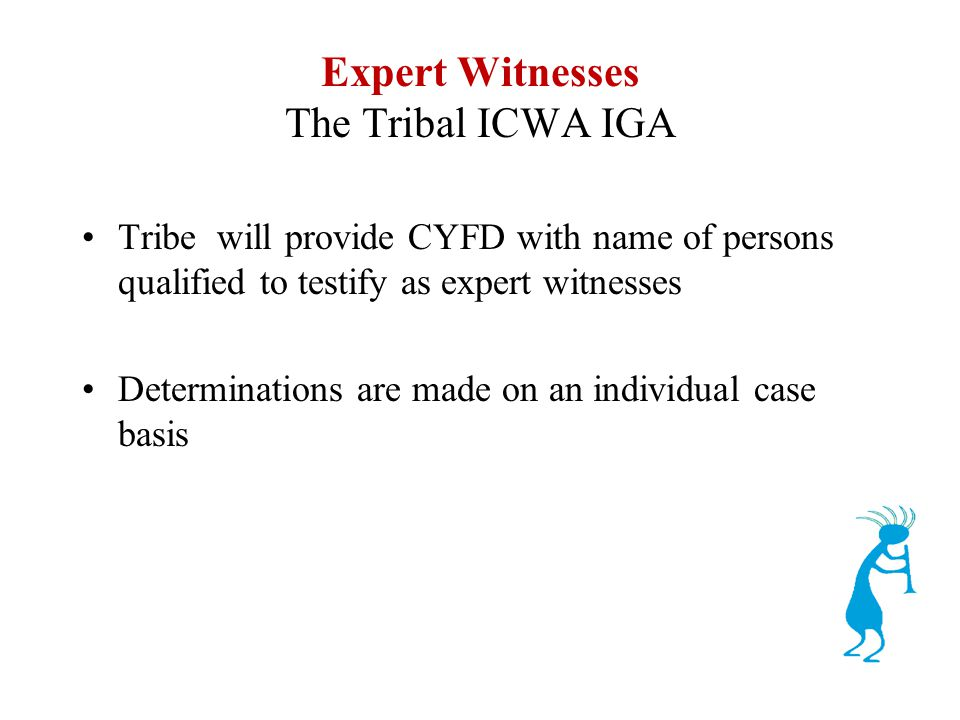 Expert Witnesses The Tribal ICWA IGA Tribe will provide CYFD with name of persons qualified to testify as expert witnesses Determinations are made on an individual case basis