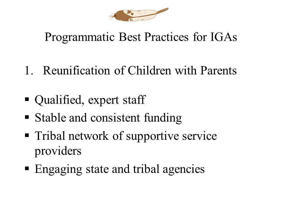Programmatic Best Practices for IGAs 1.