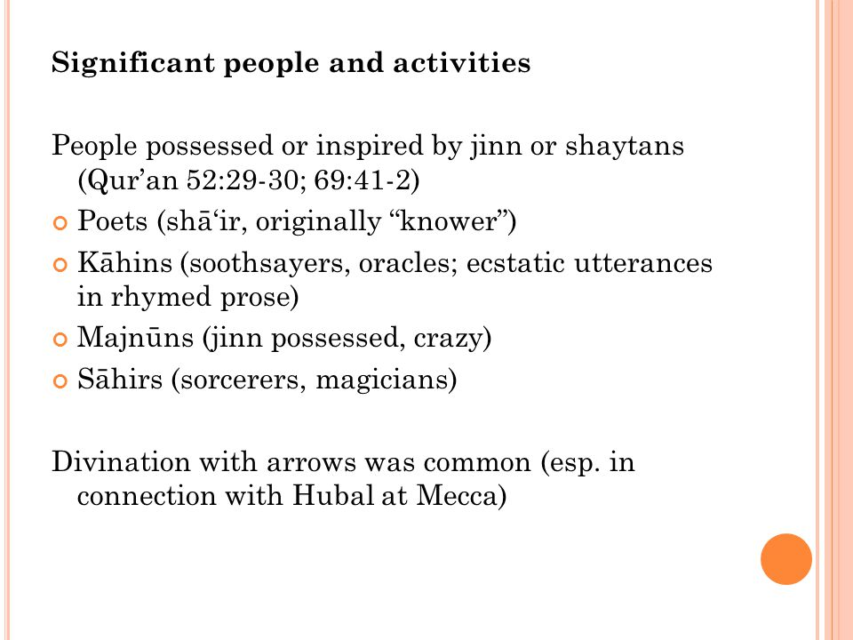 Significant people and activities Tahannuth Period of retreat for prayer and fasting Evidently done by some of the Quraysh Possibly connected with ritual acts at the Ka'ba Possibly connected with feeding the poor, freeing slaves, etc.