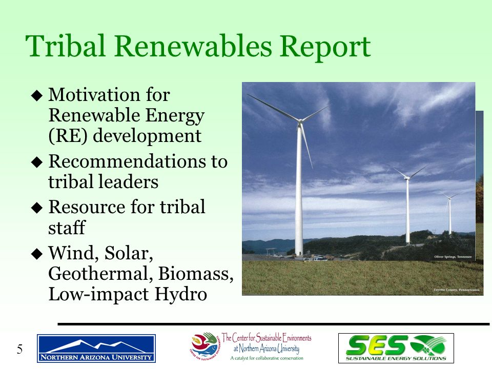 6 u Assessment of Tribal Energy Issues –ITEP Assessment: 14 tribes –NAREEP Survey: 27 tribes u Extensive Literature Survey –Tribal economic development, energy, opportunities, barriers u Formulation of Potential Actions & Recommendations u Draft Report –Policy and program recommendations –Public review; 17 solicited reviews Yurok Tribe, CA Off-grid PV installation Study Methodology