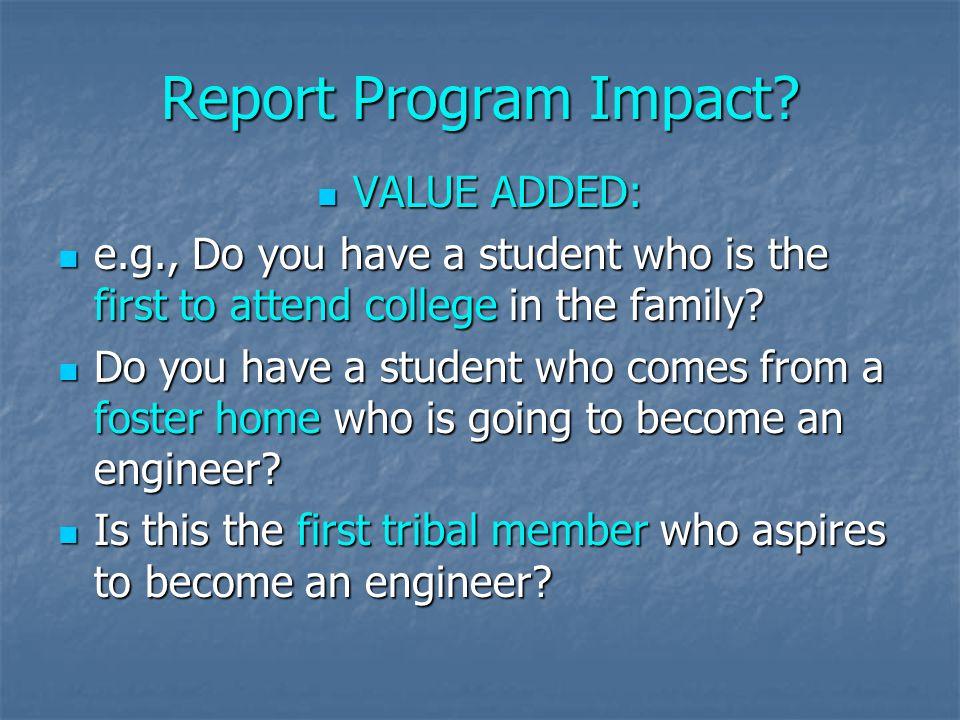 Report Program Impact.