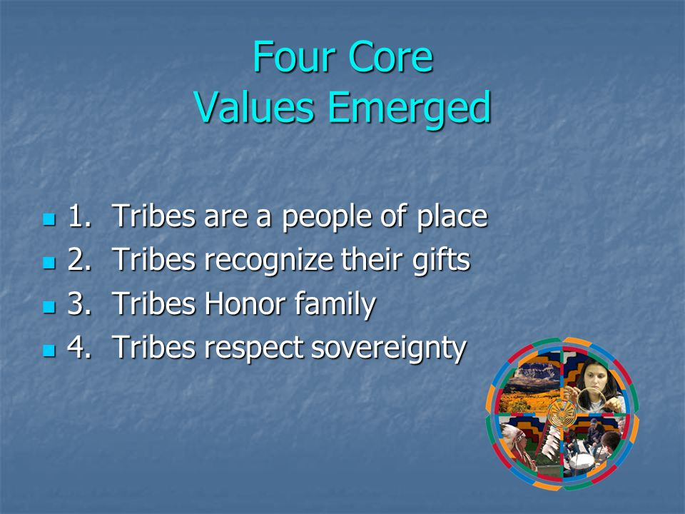 Four Core Values Emerged 1. Tribes are a people of place 1.
