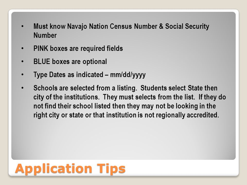 Application Tips Must know Navajo Nation Census Number & Social Security Number PINK boxes are required fields BLUE boxes are optional Type Dates as i